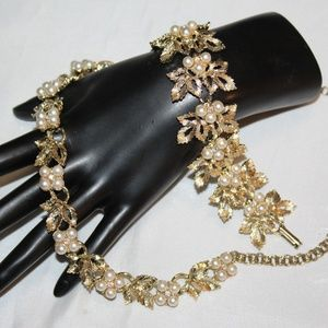 VTG JUDY LEE Gold Faux Pearl AB Crystal Set SD5